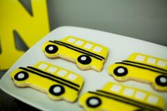 Such cute cookies at a School Bus Birthday Party!  See more party ideas at CatchMyParty.com!  #partyideas #school