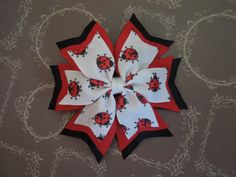 Lady Bug Pinwheel Boutique Hair bow, Lady Bug Hair clip, Red & Black Hairbow, Girl Hair bow, Hair Accessories, Photo Prop