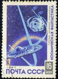 Art - Stamp Art - Russia - Sputnik - USSR 1967 - Science fiction