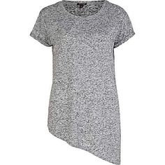 Grey marl asymmetric t-shirt - plain t-shirts / vests - t shirts / vests / sweats - women