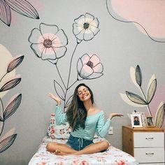 Diy Wall Painting, Plant Painting, Mural Art, Wall Murals, Wall Art, Nursery Design, Wall Design, Cute Room Decor, Wall Decor