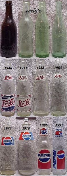 Pepsi bottles ~~ my favorite design is 1946, and it is the one that Pepsi should have now ....what's with the minimalist symbol anyway?