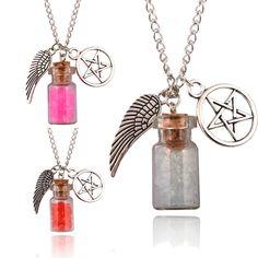 LNRRABC Hot  Retro Handmade Angel Wing Pentagram Glass Wishing Bottle Pendant Supernatural Protection Chain Women Necklace