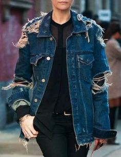 Ragged And Ripped Denim Jacket