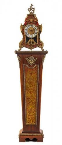* A Napoleon III Style Simulated Boulle Marquetry Clock and Pedestal. Height of clock 23 1/2""
