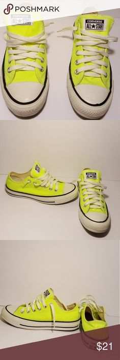 Converse All Star Low Top Sneakers Converse All-star Low top Sneakers Size 5 Mens/Women's 7 Highlighter Yellow(Neon) Preloved(a lot a wear still left) Signs of wear Converse Shoes Sneakers