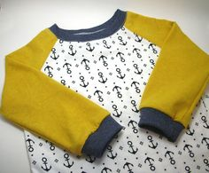 Boy Shirt, Mustard and Anchors, Hemp and Organic Cotton 12 - 18 months