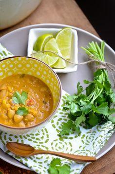 Red Lentil Coconut Soup | Makes 6 servings. 322 calories, 5g fat, 19g protein per serving.