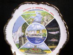 Vintage Niagara Falls Canada Collector Porcelain Souvenir Plate Gold Trim 7 in.  $9.99