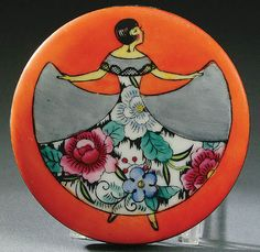 A NORITAKE ART DECO POWDER BOX CIRCA 1925 WITH HAND PAINTED SCENE OF A WOMAN IN FLORAL DRESS