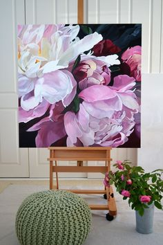 Ink Drawing SOLD - 101 x Deep Edge Canvas Acrylics with Oil Glaze floral Jenny Fusca painting. Oil Painting Flowers, Watercolor Flowers, Watercolor Art, Artist Painting, Flower Painting Canvas, 3 Canvas Painting Ideas, Art Flowers, Painting Abstract, Canvas Artwork