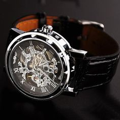 Men's watch / vintage style watch / handmade watch / leather band watch / chain hollow out mechanical watch (wat0041-black)