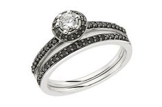 1/2 Carat Black & White Diamond 14K White Gold Bridal Engagement Ring & Wedding Band