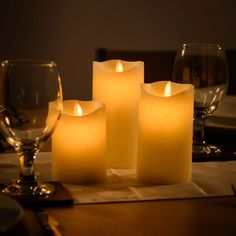 3 x Flickering Flame Real Wax LED Candles: Amazon.co.uk: Kitchen & Home