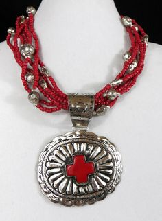 Cowgirl Bling Red Coral Bead Santa Fe SILVER CONCHO Southwestern Gypsy necklace #Unbranded #BEADED