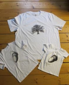 "the nut doesn't fall far from the tree shirts for dad and kids   First, google image search for ""oak tree"" and ""acorn."" download the images and print them onto Avery transfer paper, follow the instructions carefully, iron on, et voilà!"