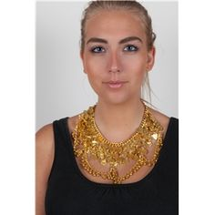 Necklace with coins and bells - gold Marigold, Costume Jewelry, Coins, Gold Necklace, India, Costumes, Fashion, Moda, Gold Pendant Necklace
