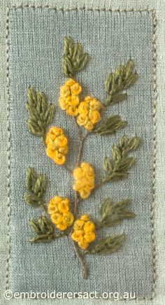 Yellow Flowers from Australian Landscape and Flora stitched by Lorna Loveland