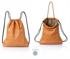 Camel brown leather backpack tote  multi way back bag  by JUDtlv
