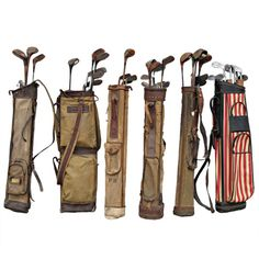 Vintage Golf Clubs with Bags UK 1940's Collection of vintage English Golf clubs and bags. Great memorabilia and decoration. Sold as set only $ 5400