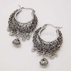 Retro Antique Tibet Silver Vine Hollow Filigree Vintage Earrings For Women Girls Wholesale 2015 NEW Arrival Jewelry