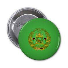 Afghan coat of arms pinback buttons