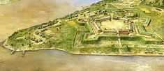 PA, Pittsburg, Fort Pitt - originally named Fort Duquesne after the governor of New France. Artist rendition of how it would have appeared in 1760s. Built between 1759 and 1791 at the Forks of the Ohio River by John Forbes.