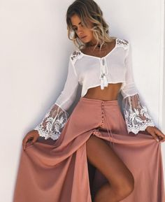 Long Sleeve Womens Boho Shirt White Lace Blouse Summer Ladies Dentelle Mesh Tops Femme Blusas Female Tunic Crop Tops Gender: Women Brand Name: Lanshifei Style: [. Boho Outfits, Spring Outfits, Casual Outfits, Cute Outfits, Fashion Outfits, Womens Fashion, Dress Fashion, Cochella Outfits, Beach Outfits