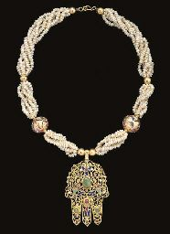 "A MOROCCAN GEMSET GOLD ""HAND OF FATIMA"" NECKLACE (KHAMSA)  FEZ, 19TH CENTURY"