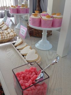 Blush gold and white -️sweet bar -bridal shower - Sweet Bar, Elegant Bridal Shower, Blush And Gold, Candy Buffet, Food, Essen, Candy Stations, Meals, Yemek