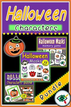 Halloween fun kids games bundle include Halloween characters' masks, memory and puzzle game. Suitable for Kindergarten and lower Primary school grade Halloween Activities For Kids, Fun Games For Kids, Halloween Fun, School Fun, Primary School, Second Grade Games, Teacher Games, Homeschool Kindergarten, Homeschooling