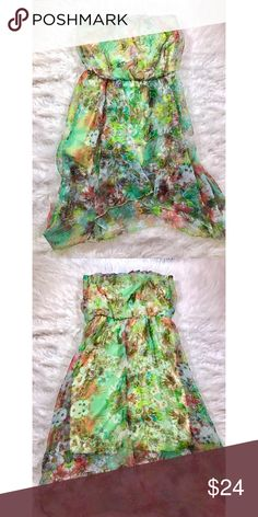 Strapless Floral High-Low Dress Size small. 100% Polyester. Great condition; only worn once! Open to reasonable offers. ☺️ No trades please. 💞 **Remember, 15% off bundles of 2 or more!** City Studio Dresses Strapless