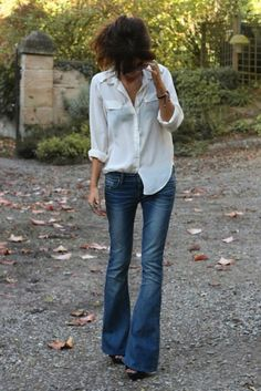 white shirt and jeans with side tuck