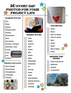 50 Everyday Life Photos for your Project Life | A checklist from scrapinspired.com