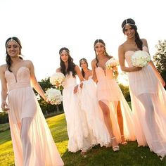 2016 Summer Bohemian Bridesmaid Dress Strapless Plunging Deep V-Neck chiffon Bridal Party Wear Side Splits Maxi Wedding Guest Gowns Cheap