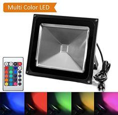Color LED Light, HouLight High Power 50W RGB Color Changing LED Flood Light IP65-Waterproof (85V-265V AC) 16 Colors 4 Modes with US Plug for Park, Garden, Stage Lighting and Party Lights Feature:  SAFE and ENVIRONMENTAL FRIENDLY! No harmful materials. No UV, IR or other deleterious radiation. READY FOR USE: standard 110V AC US plug with ground wire included with the product. Works properly even when AC fluctuates between 85-265 Volts. HIGHEST QUALITY: 45mil High Power LED Source. IP65…