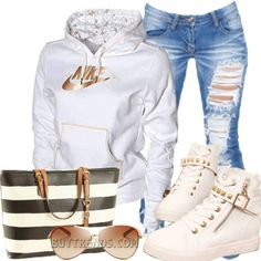 cool white and gold nike... ima boss chick...