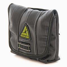 Upcycled hip pack made from bike inner tubes.