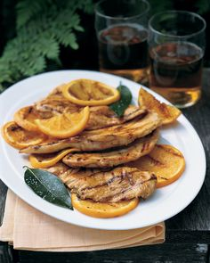 Looking for fast? Paillards are simply boneless, skinless chicken breasts that have been pounded to an even thinness so they cook quickly and evenly -- just three minutes per side on a hot grill. Orange marmalade, lemon juice, orange juice, and bay leaves make a tangy-sweet glaze for the chicken.