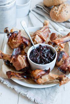 Chicken Drumsticks with Bacon & Plum Sauce