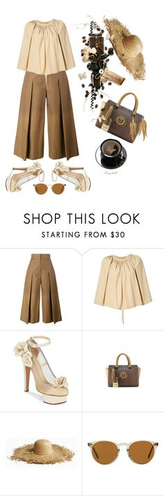 """""""Pleats & Coffee On Saturday 🍩☕️"""" by ragnh-mjos ❤ liked on Polyvore featuring Fendi, Lemaire, Charlotte Olympia, Oliver Peoples and Annette Ferdinandsen"""