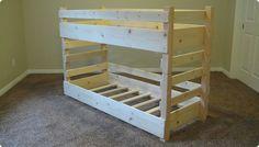 Diy toddler size bunk beds plans for crib mattress