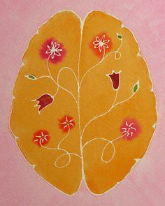 Mind Garden original watercolor painting of brain por artologica