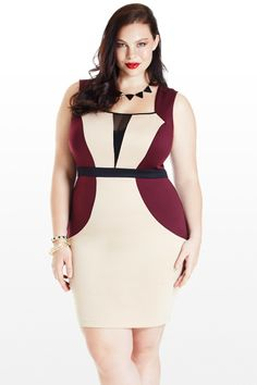 *V-Step Mesh Colorblock Dress* Love the color combo!
