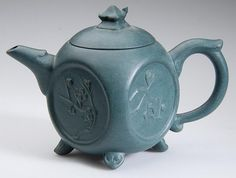 CHINESE YIXING ZISHA CLAY ARTISTIC TEAL-BLUE TEAPOT