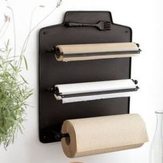 Paper towels, foil, wax paper. Would be nice to hang from a wooden breadboard in the kitchen.