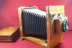 Messing Holz -Plattenkamera Rüdenberg Hannover 1:4,5   3 Holz Planfilmkassetten