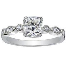 18K White Gold Tiara Diamond Ring with 0.44 Carat Cushion Diamond - So pretty.