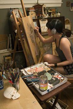 Artist at Work in Studio