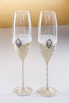 White Wedding Glasses Winter Wedding Flutes Christmas Glasses